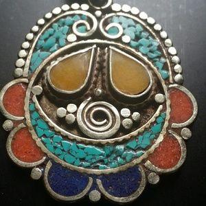 Jewelry - Onyx Turquoise red coral lapis lazuli pendant new